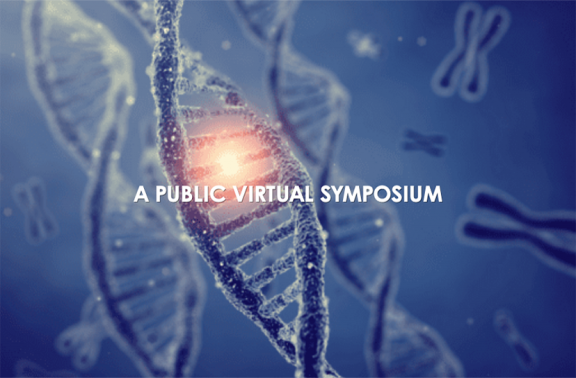 "Dna info graphic with the text ""A Public Virtual Symposium"""