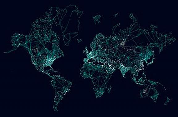 Global map with networking abstract