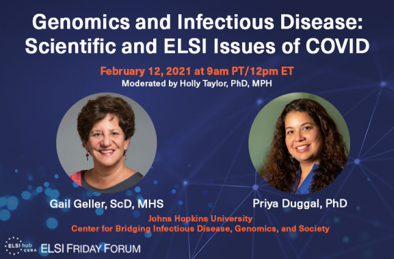 "Infographic for ""Genomics and Infectious Disease"" with speaker photos"