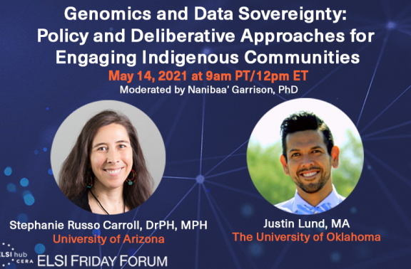 "Infographic for ""Genomics and Data Sovereignty: Policy and Deliberative Approaches for Engaging Indigenous Communities"" with speaker photos"