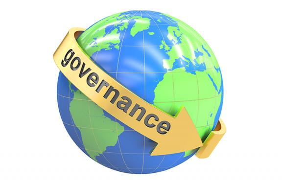 "Globe image with text ""Governance"" circling it"